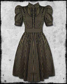 Spin Doctor Ulissa Black Brown Stripe Steampunk Gothic Vtg Victorian Style Dress | eBay