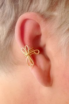 Dragonfly Ear Cuff Non Pierced by TheLazyLeopard on Etsy, $8.00