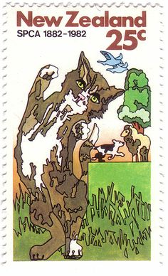 New Zealand cat stamp