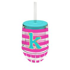 Monogram Stemless Wine Cup-K - Occasionally Made - Monogram Gifts - Great Gift Ideas for Her