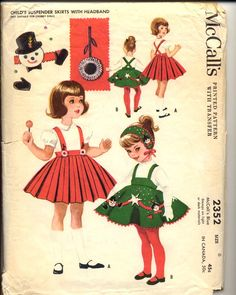 McCall's vintage pattern for little girls felted Christmas dresses, 1950s