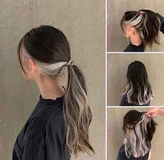 Hidden Hair Color, Hair Color For Black Hair, Cool Hair Color, White Hair, Hair Color Streaks, Hair Dye Colors, Silver Hair Highlights, Under Hair Dye, Hair Color Underneath