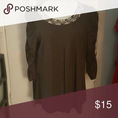 Glitterscape top Lovely jeweled neck top with ruched  sleeves Tops Tunics