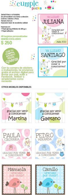"""Cumple Packs: Souvenirs para nacimiento """"BIENVENIDO BEBÉ"""" - Tarjetas, pegotines, imanes."""
