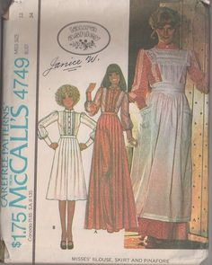 MOMSPatterns Vintage Sewing Patterns - McCall's 4749 Vintage 70's Sewing Pattern ROMANTIC Designer Laura Ashley Pin Tucks Balloon & Lace Trim Sleeve Blouse, Long Pleated Skirt, 2 Piece Granny Dress & Gauze Pinafore Apron