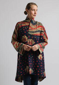 Mieko Mintz - Reversible Long Kimono Jacket in Navy/Red