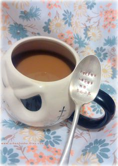Coffee Makes Me Poop COFFEE SPOON Stamped Spoon by UrbanFunke, $14.99