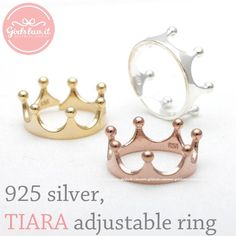 sterling silver simple TIARA ring, 3 colors
