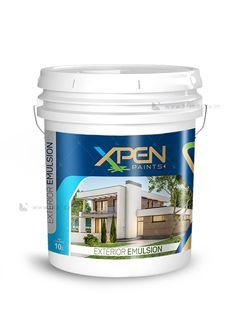 Xpen exterior emulsion Paint Bucket label design by Brandz Label Design, Packaging Design, Branding Design, Paint Buckets, Exterior, Packing, Brand Names, Plastic, Cute House