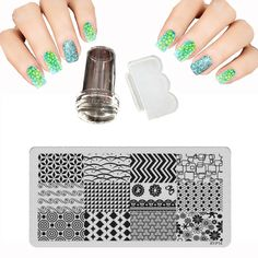New Nail Art Template 6X12cm XYP 16 Style Nail Stamping Plates Set Lace Stainles Stencils For Nails + Stamp + 1 Scraper Knife
