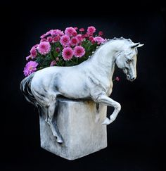 "Gorgeous  ""Piaffe"" horse vase!!  $190  Resin reproduction of the original sculpture by Beverly Zimmer.  15"" x 11"", there is a 3"" opening behind the horse for the arrangement.  Hand painted, signed.  Ordering info:  (561) 452 6526  VISA/MC PayPal  Wholesale opportunities!"