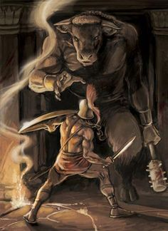 Minotaur. Greek mythological monster, had the body of man and head of a bull. He was killed at the hands of Theseus.