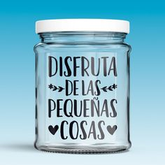 Vinilos Decorativos: Disfruta de las pequeñas cosas 0 Starbucks Bottles, Masha And The Bear, Money Box, Wine Bottle Crafts, Meraki, Mason Jars, Recycling, Cricut, Lettering