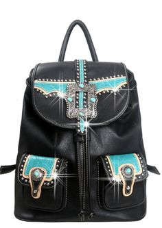 Caracol - Inspired Jewelry and Handbags - Western Turquoise Embellished Buckle |  Montana West Backpack | Double Front Pockets | Caracol, $74.00 (http://www.caracolsilver.com/western-turquoise-embellished-buckle-montana-west-backpack-double-front-pockets-caracol/)