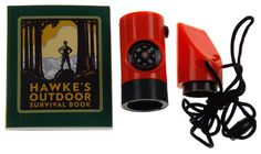 Lot 2 Hawke's Outdoor Survival Kit Mega Mini Kit Compass Whistle Lanyard Mirror