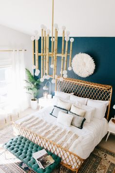 A Must See Modern-Bohemian Master Bedroom Makeover Modern Master Bedroom, Master Bedroom Makeover, Master Bedroom Design, Dark Teal Bedroom, Teal Bedroom Accents, Tropical Master Bedroom, Teal Bedroom Walls, Teal Bedrooms, Bedroom 2018