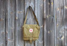 Red Cross Messenger Bag Soviet Vintage Army Medical Bag Field Bag Military Unisex Khaki Bag, Bag for nurse, Bag doctor, Unisex messenger bag