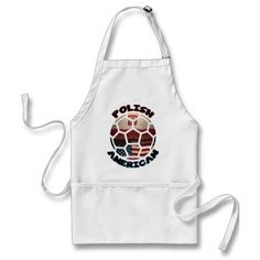 Polish American #Soccer Ball Apron. To see a wide range of #genealogy and ancestry products, featuring many nations, please take a look in my store: www.zazzle.com/celticana*/ #PolishAmerican