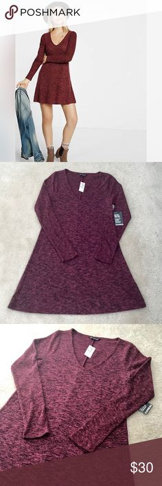 """💖Express💖 Cozy V-Neck L/S Trapeze Dress Sz M Express Cozy V-Neck Long Sleeve Trapeze Dress *New With Tags* in Size M.  • V-Neckline with ribbed long sleeves  • Cozy trapeze fit  • Rayon/Polyester/Spandex • 34.5"""" long from HPS Express Dresses Long Sleeve"""