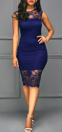 Round Neck Short Sleeve Navy Blue Lace Dress, free shipping worldwide at rosewe.com, check it out.