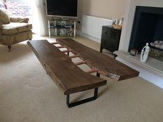 Live edge split copper bar coffee table - Etsy