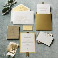 "Your invitations foreshadow your wedding style and generate excitement for your event. A classic card says ""formal elegance""; give it the Midas touch to add ""can't-miss affair"" to the message. Paper, SideshowPress."
