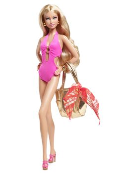 Barbie Basics® is all about permission to play and this collection focuses on fashionable fun in the sun. Each Barbie® doll wears an oh-so-chic ensemble complete with swimsuit and shoes in the same color, golden earrings and a bracelet, golden metallic tote and a blue or orange sarong.   Model No. 04 sports a blazing hot pink monokini and an orange tropical sarong!