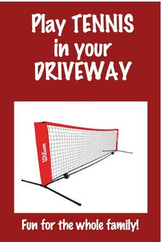 Driveway Tennis Net (18-Feet), great for families to play together, play Quarter Court tennis at home! Available here at our Amazon affiliate link. #tennis #10U #8U #kids #familyfun