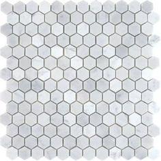 "White Marble 1"" Hexagon Polished Mosaic Tiles (Upstairs master bathroom)"