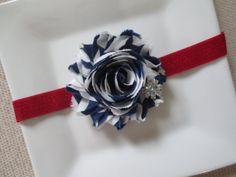 navy blue and red headband white headband by hartsandflowers, $4.95