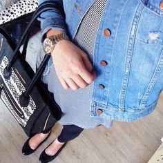 denim jacket, stripe tunic and leggings  #ootd #wiw #fbloggers""