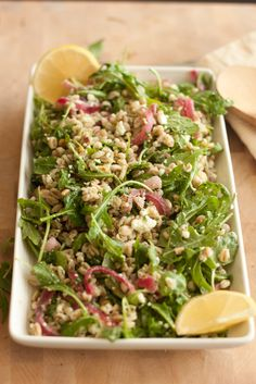 Farro Salad with Arugula & Herb Vinaigrette.