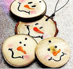 Primitive Snowman Set 4piece Ornament Kit Natural Wood Gift Tag Embellishment woodland tree bark