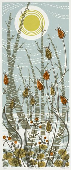 Winter Birches screenprint by Angie Lewin