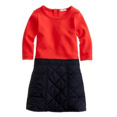 J.Crew girls' two-in-one puffer dress in electric flame.