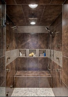 Lovely! /houzz.com Love style but use different color tiles...light gray with mixed white,black,gray border tiles!