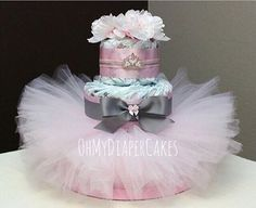 Nivel 3 pañales princesa pastel 2 estilos Tutu pañal Cake