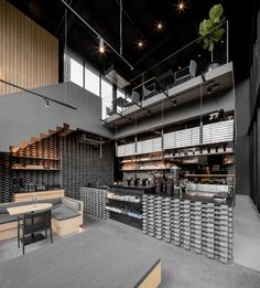 Kaizen Coffee Shop interior design by space+craft - gray decor - Home Decorating Trends - Homedit Coffee Shop Interior Design, Coffee Shop Design, Café Design, House Design, Design Shop, Kaizen, Eclectic Design, Space Crafts, Commercial Design