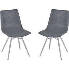 Armen Living Athens Dining Chair in Vintage Gray Pu and Brushed Stainless Steel (Set of 2)