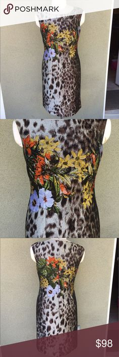 "Lafayette 148 leopard floral sheath dress This dress is beyond stunning! Worn only once and in amazing condition. Lined. I don't model. Beautiful Lafayette 148 leopard and floral dress. Has a painted/tapestry look to it. Back hidden zipper. Polyester and acetate. Note: this is listed a size 6 but fits big, hence why I'm listing as a medium! My dress form is a size 8-10 Medium and it fits it perfectly! Retailed for $598. Such an elegant piece. Length 39"" pit to pit 18.5"" waist flat across 16""…"
