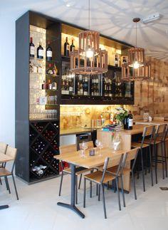 CAFE BAR showcase cabinet in winebar in Den Bosch #winebar #showcase #cabinet --------- BAR IN CAFE grote toonkast in wijnbar Den Bosch #design #wijnbar #bar #barkast