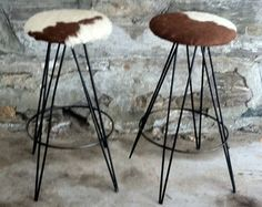 Image result for cow skin and metal bar stools