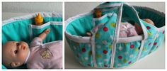 Step by step sewing tutorial for how to make this Moses style doll bed with pockets and handles.