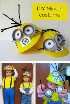 Goggle Eyes Cap DIY Minion Costumes 2015 Halloween- yellow T-shirt, Goggle Eyes - Most Popular Halloween Costumes of 2015 by Ω Tattoo Girls Ω Minion Halloween, Diy Minion Kostüm, Minion Craft, Minion Party, Family Halloween, Diy Halloween Costumes, Holidays Halloween, Halloween Crafts, Halloween Party