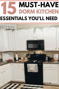Don't know what to buy for your dorm kitchen? Here is the ultimate dorm kitchen essentials list including appliances and organization ideas. Kitchen Essentials List, First Apartment Essentials, College Dorm Essentials, College Hacks, Room Essentials, College Apartment Bathroom, College Dorm Rooms, Apartment Living, Dorm Cleaning