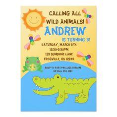 Convite de aniversário animal da lagoa do safari