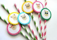 12 Llama Party Straws, Llama Theme, First Birthday, Fiesta Theme, Llama Birthday, Girl Llama, Baby Shower, Llama Party, Fiesta Birthday by thepartypenguin on Etsy