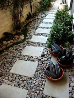 Walkway from driveway to front door - but need edging so stones don't go flying when grass is cut | Outdoor Areas