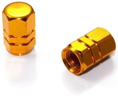"""Amazon.com : (2 Count) Cool and Custom """"Hexagon Top with Easy Grip Shape"""" Tire Wheel Rim Air Valve Stem Dust Cap Seal Made of Genuine Anodized Aluminum Metal {Dark Lamborghini Yellow - Hard Metal Internal Threads for Easy Application - Rust Proof - Fits For Most Cars, Trucks, SUV, RV, ATV, UTV, Motorcycle, Bicycles} : Sports & Outdoors"""