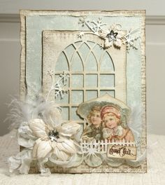 """Lovely Shabby Christmas Card...with """"widow pane"""", vintage picture, feathers, & flowers...Anne's paper fun."""
